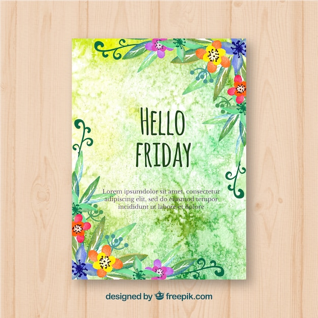 Hello friday, flyer with green watercolors