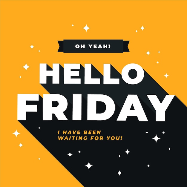 Hello friday message with shiny elements Free Vector
