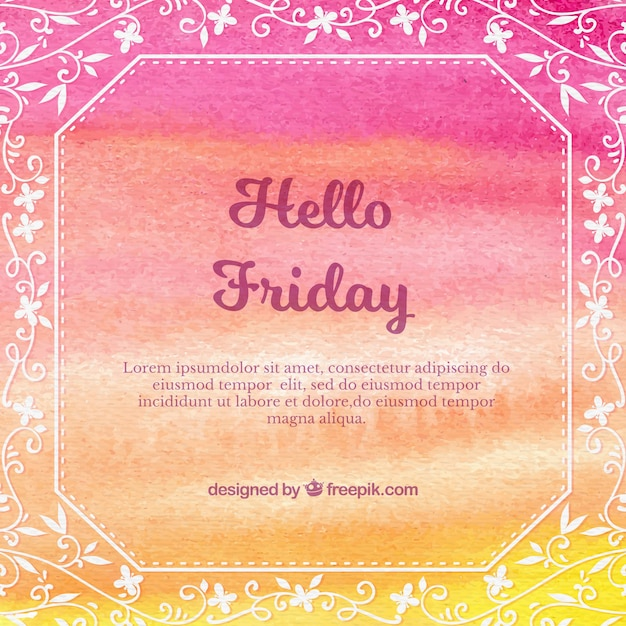 Hello friday with watercolors