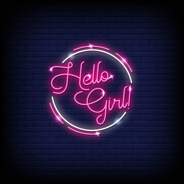 Hello girl neon signs style text Premium Vector