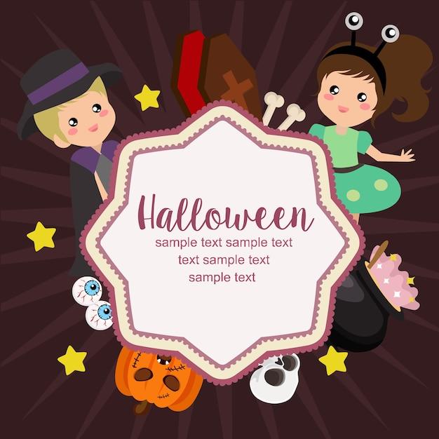 hello halloween card alien costume kids flat style vector premium