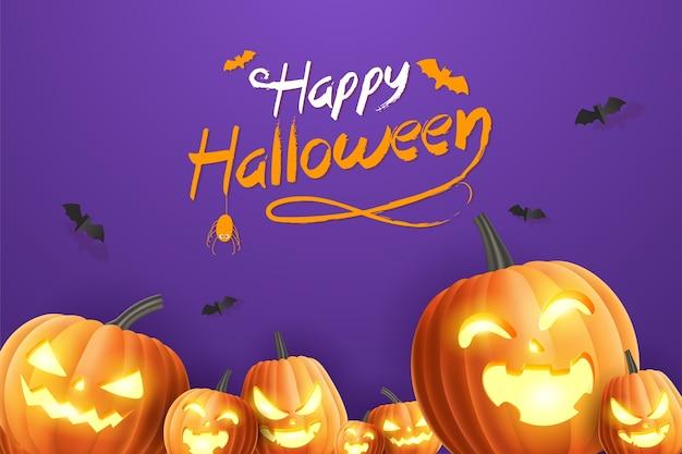 Hello halloweenhappy halloween banner, sale promotion banner with halloween pumpkins and bats on purple background. 3d   illustration Premium Vector