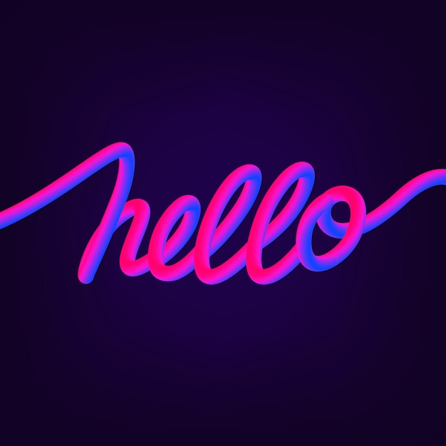 Hello hand written lettering quote. trendy style. Premium Vector