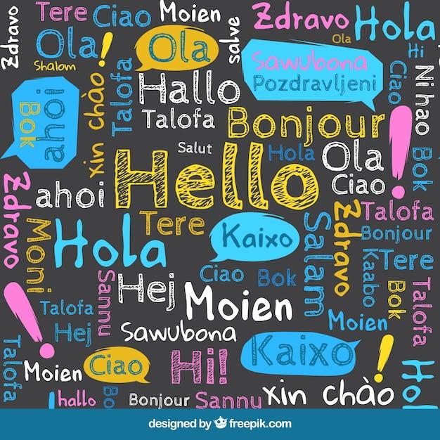 Привет на разных языках Бесплатные векторы