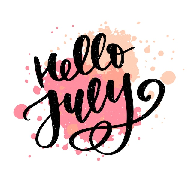 Hello july lettering print. summer minimalistic illustration. isolated calligraphy Premium Vector
