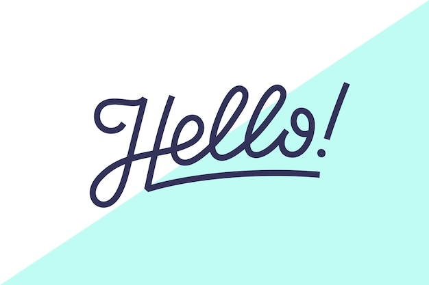 안녕하세요. 안녕하세요 텍스트 배너, 포스터 및 스티커 개념에 대 한 글자. 프리미엄 벡터