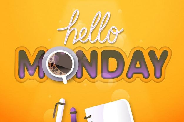 Ciao lunedì sfondo Vettore gratuito