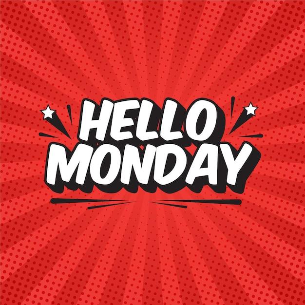 Привет понедельник надписи в стиле поп-арт Premium векторы