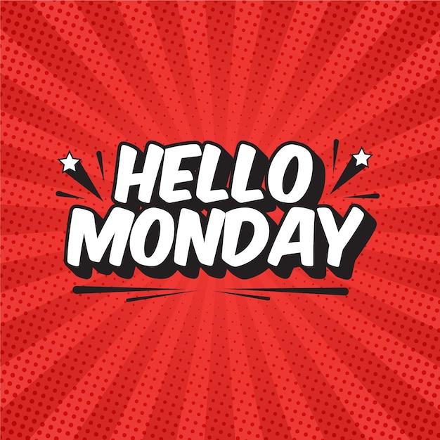 Hello monday lettering in pop art style Premium Vector