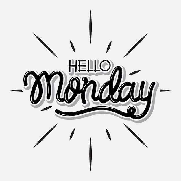 Привет, понедельник - надпись Бесплатные векторы