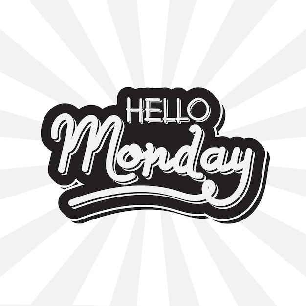 Hello monday - lettering Free Vector