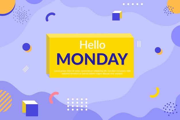 Привет, понедельник, мемфис, обои Premium векторы