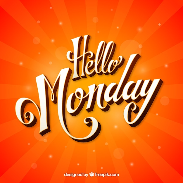 Hello monday, orange background Free Vector