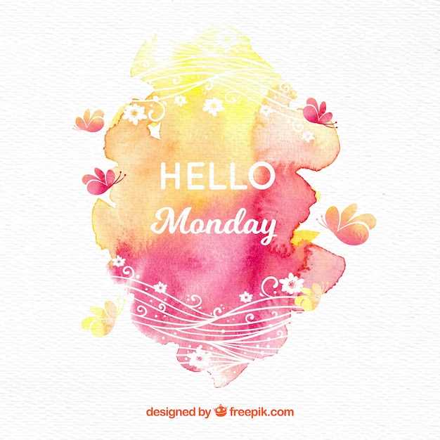 Hello monday with watercolor spots