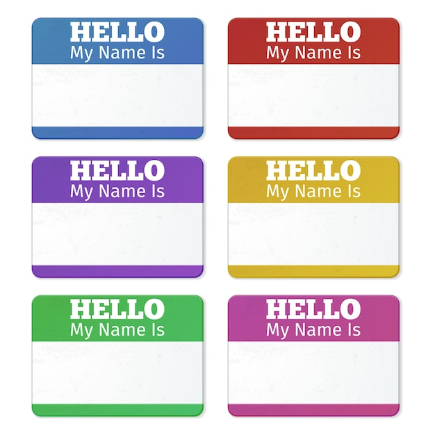 Привет, меня зовут ... введение карточки, набор наклеек. наклейка для вечеринки Бесплатные векторы