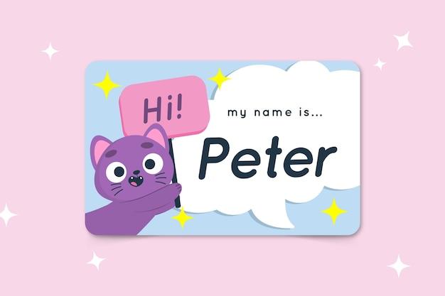 Ciao mi chiamo modello di etichetta con gatto Vettore gratuito