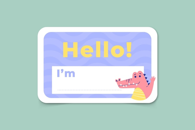 Hello my name is label template with dinosaur Free Vector