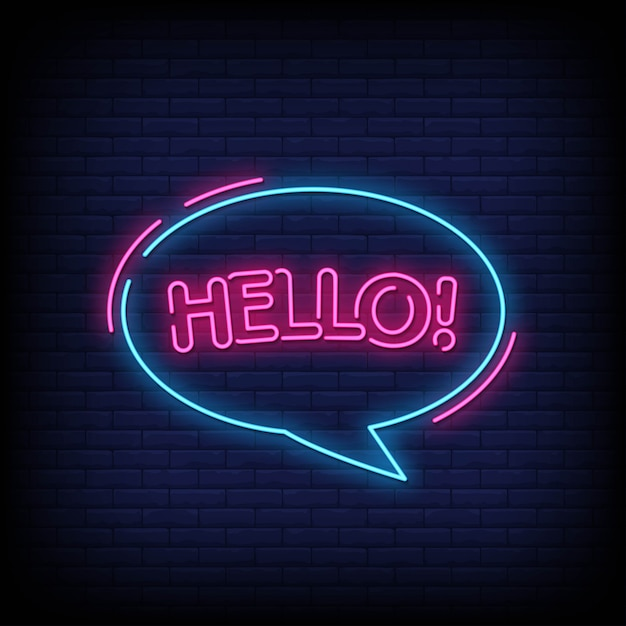 Hello neon signboard on brick wall Premium Vector