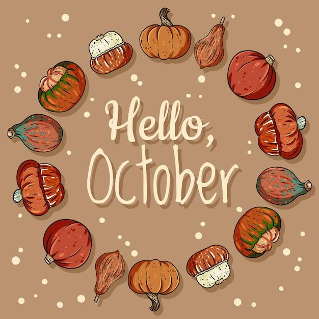 Hello october decorative wreath cute cozy banner with pumpkins Premium Vector