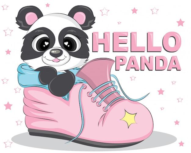 Hello panda bear on the pink shoes Premium Vector
