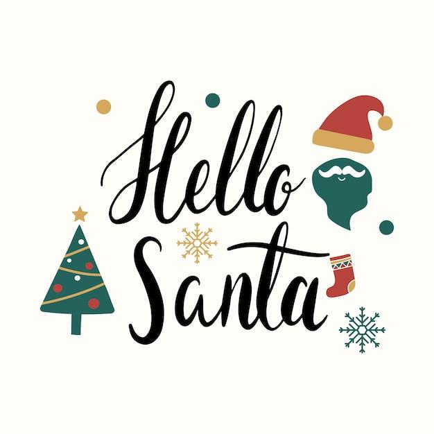 Hello santa christmas greeting badge vector Free Vector