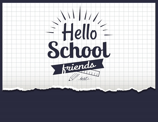 Hello school friends Premium Vector