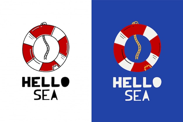 Hello sea label Premium Vector