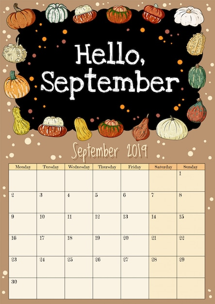 Hello september chalkboard inscription cute cozy hygge 2019 month calendar planner with pumpkins decor Premium Vector