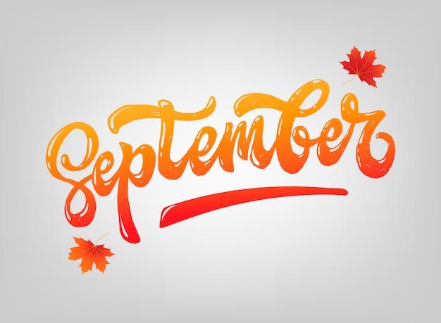 Hello september lettering quote Premium Vector