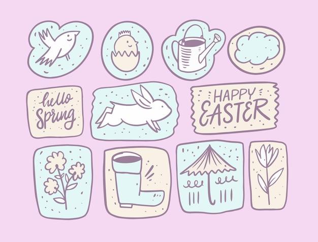 Здравствуй, весна и с пасхой. элементы набора рисованной каракули. Premium векторы