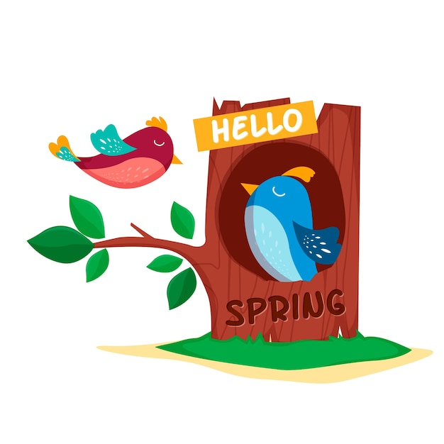 Привет весенний фон с птичками Бесплатные векторы