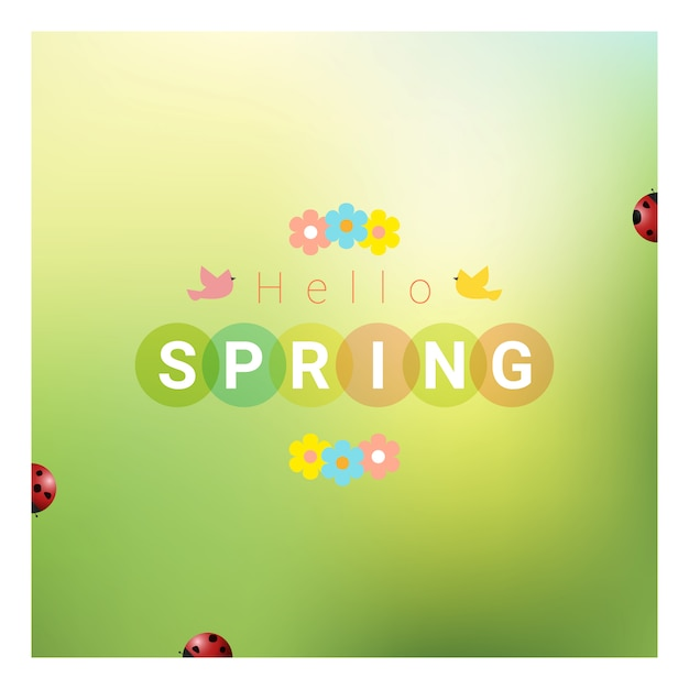 Hello spring background with colorful ladybugs Premium Vector