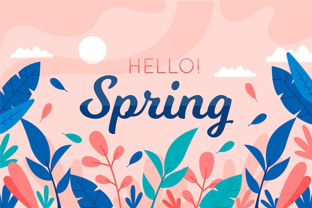 Hello spring background with colorful leaves Free Vector