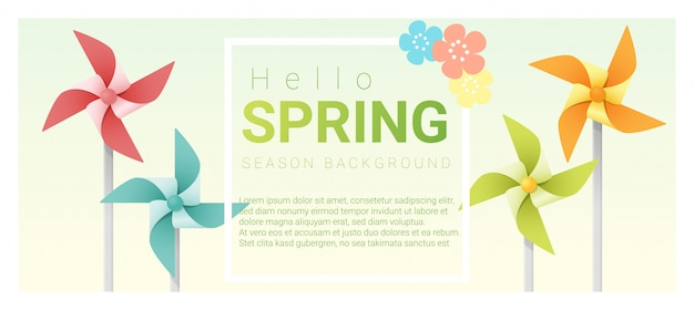 Hello spring background with colorful pinwheels Premium Vector