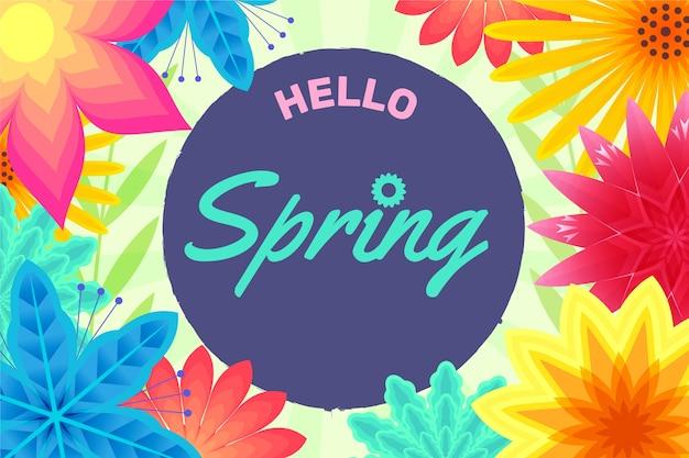 Привет весенний фон с цветами Бесплатные векторы
