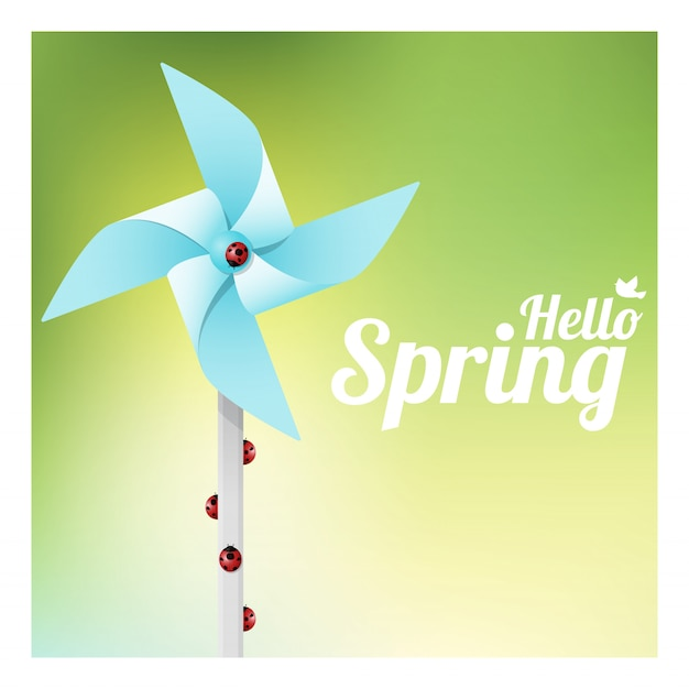 Hello spring background with ladybugs on colorful pinwheel Premium Vector