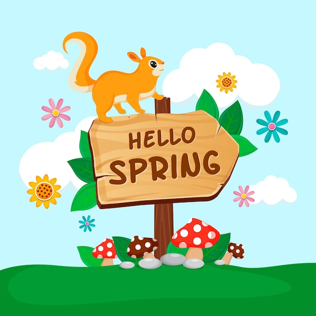 Hello spring background with squirrel Free Vector