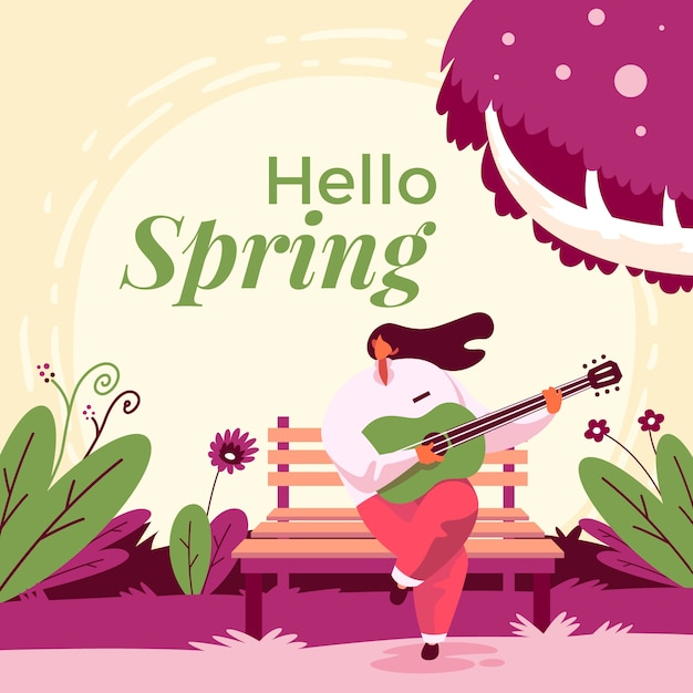 Hello spring background with woman with guitar Free Vector