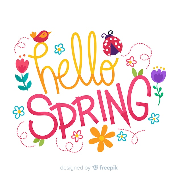 Hello spring background | Free Vector