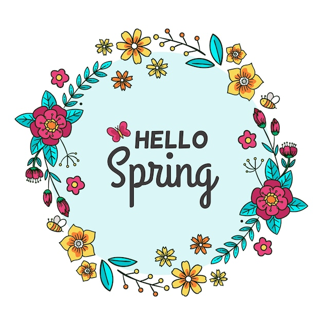 Hello spring banner with flowers Free Vector