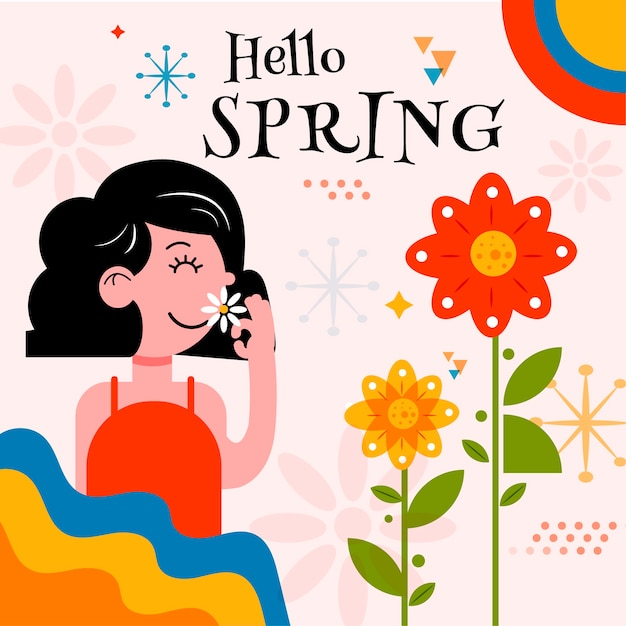 Hello spring banner with woman smelling flower Free Vector
