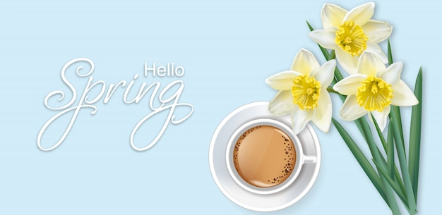 Hello spring card with coffee and narcissus flowers Premium Vector