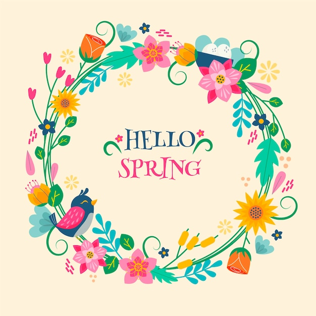 Hello spring colorful lettering concept Free Vector