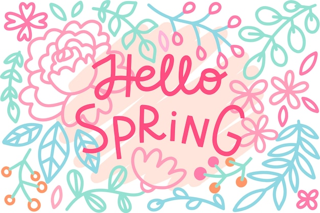 Hello spring concept for lettering Free Vector
