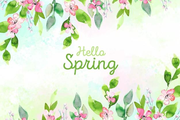 Hello spring concept watercolor style Free Vector