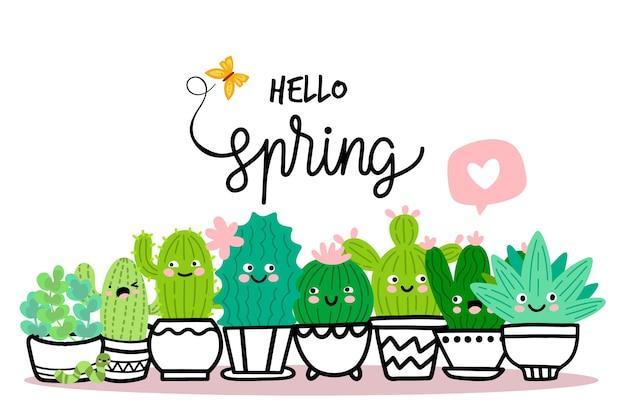 こんにちは、サボテンと春のコンセプト 無料ベクター