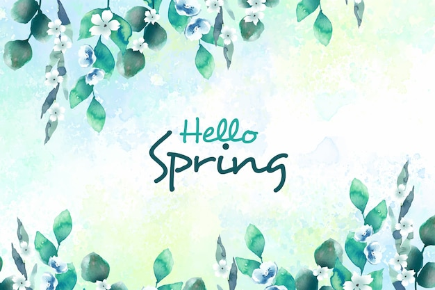 Hello spring concept with flowers Free Vector