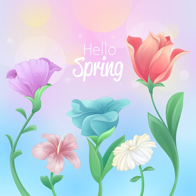 Hello spring design with beautiful flowers Free Vector