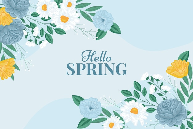 Hello spring floral background Free Vector