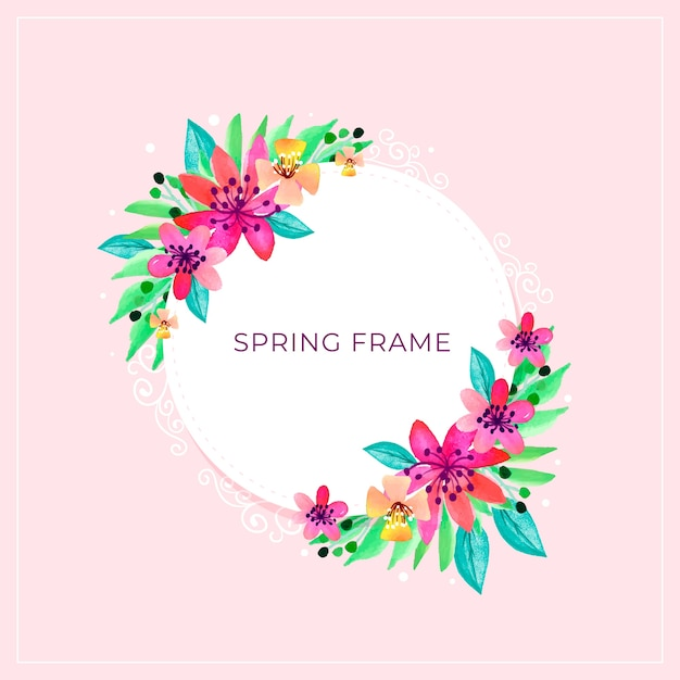 Hello spring frame with explosion of flowers Free Vector